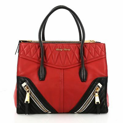 e7b9ba4a9f15 MIU MIU BIKER Convertible Tote Leather Medium - $720.00 | PicClick