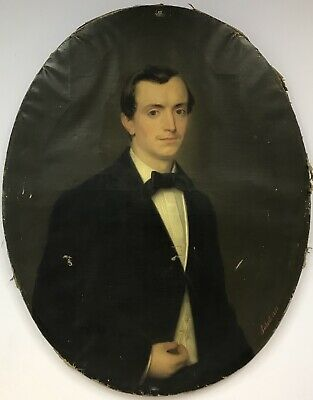 SEIBERT large antique oil painting on CANVAS Portrait of a gentleman SIGNED 1857
