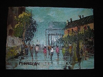 Vintage Oil Painting Canvas on Board City Scape Morgan Signed Original