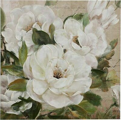 WHITE CAMELIAS Premium Framed Canvas Artwork Print Floral Flower Wall Art 80x80