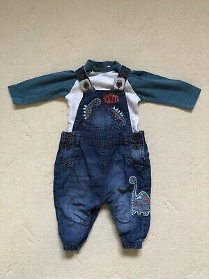 b4ebfb94bbfc Next Dinosaur Baby Boys Dungarees Set 3-6 Months Lovely Condition Lined
