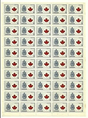 1966 CANADIAN COAT OF ARMS 5 Cent Stamp Sheet unused.
