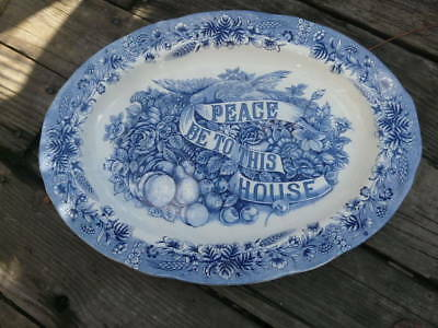 Currier & Ives Peace Be To This House Turkey Platter Blue Harvest Heritage 18x14