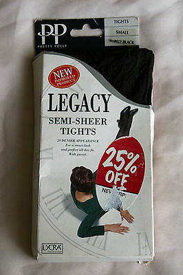 Vintage Pretty Polly Legacy Semi Sheer Office Pantyhose Tights Barely Black SML