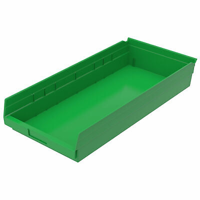 "Plastic Shelf Bin Nestable, 11-1/8""W x 23-5/8""D x 4""H Green, Lot of 6"