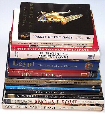 Lot of Fourteen Books on Rome, Egypt, Ancient History & Artifacts