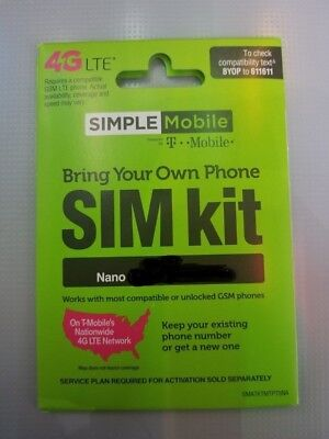 Simple Mobile Pre-Loaded NANO SIM $25 3GB 4G LTE Data Plan
