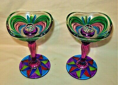 Rare Vintage Murano Hand Blown Art Glass Multicolor Candle Holders