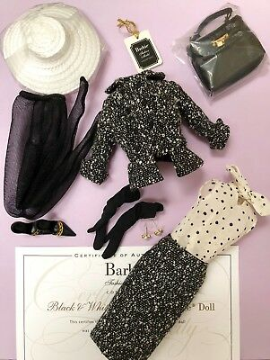 Silkstone Fashion Barbie Black And White Tweed Suit Outfit & Accessories Only