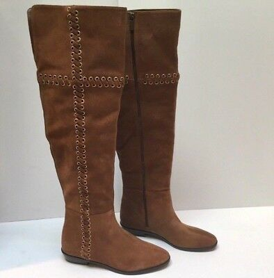 d09074c03eb0c Michael Kors Malin Caramel Grommet Over the Knee OTK Suede Boots Size 8.5