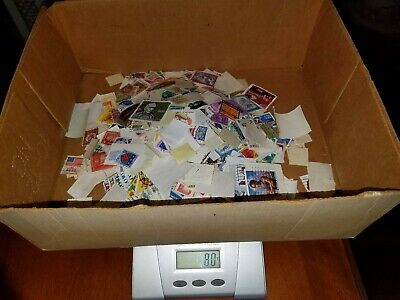 80-81 grams Kiloware mixture of 1000+ World Stamps on and off paper