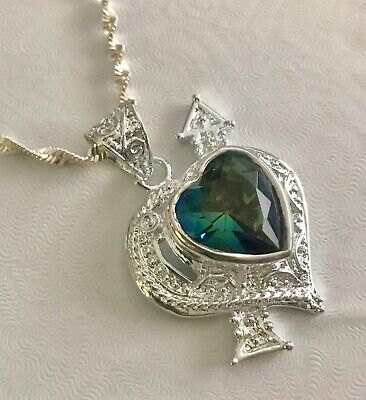Engagement & Wedding The Cardinal Crystal Heart Necklace Pendant From Danbury Mint Jade White