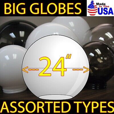 """10"""" WHITE ROUND GLOBE OUTDOOR SPHERES  20010-WH-4F  TOP 4"""" Neck Fitter NEW 8 Pk"""