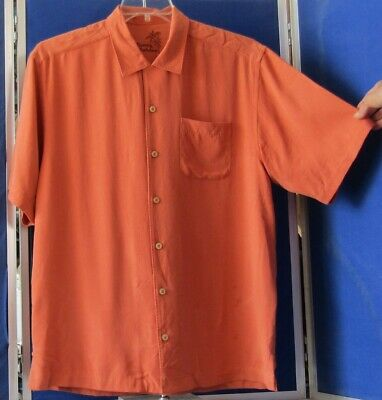 0e8fd609a73a9e Light Orange SHIRT Hand Stitched Trim TOMMY BAHAMA 100% Washable SILK Sz M