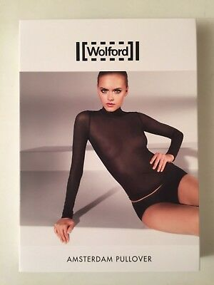 Wolford Amsterdam Pullover M  Top Sheer Black Seamless Quality UK 14 NEW Authe
