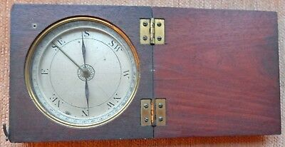SCARCE EARLY 19th CENTURY MAHOGANY CASED COMPASS 5.1/2 X 5.1/4 X 1.1/4 INCHES