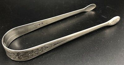 Antique Vintage STERLING Silver Sugar or Olive Tongs, Monogrammed C (RF922)