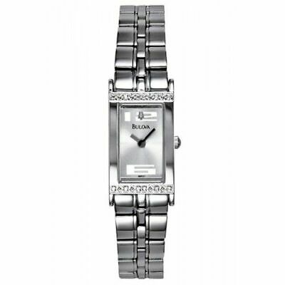 Bulova Women's Quartz Diamond Accents Silver-Tone Bracelet 15mm Watch 96R07