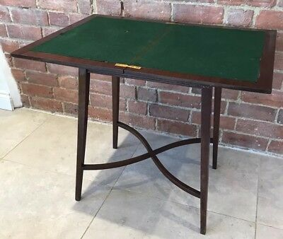 Antique Walnut Fold Away Games Table Rotating Secret Drawer Inlaid Felt Cards De