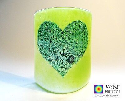 Fused glass bubbly heart sconce, handmade, tea light panel, new home gift, green