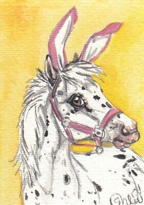 ACEO original Watercolor Art Card Horse Appy Pony Pink Bunny Ears for Easter