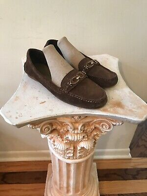 d8056236631 COACH 9B Fortunata Gold Bit Brown Suede Loafers Leather Driving Shoes Flats