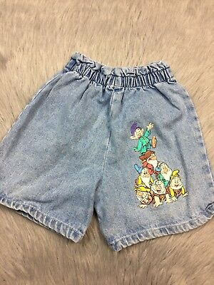 Vintage Disney Snow White Denim Dwarves Print Shorts Toddler 3T