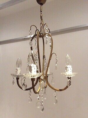 Rare Vintage 4-arm French Gilt Iron & Crystals Chandelier, c1940s.