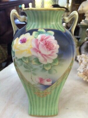 antique japanese vase By I.E & C Co Heavy Gilded Cabbage Roses Hand painted