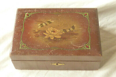 Antique Wooden Small Writing Slope Box With Painted Decoration