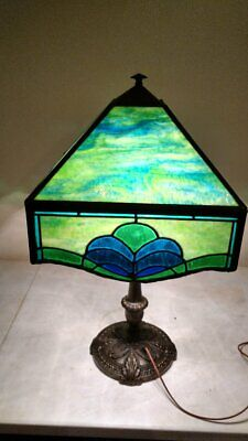 Antique Mission Arts & Crafts Stained Glass/leaded glass signed shade