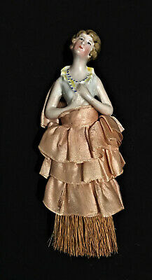 """Antique Porcelain Half Doll Whisk Broom Victorian Woman 5 ¼"""" Germany"""