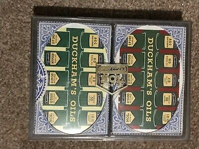 TAX WRAPPED X2 Vintage Playing Cards DUCKHAM'S OILS Motor Car Oil Cans SEALED