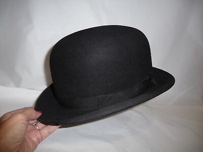 VINTAGE G.A. DUNN   Co Bowler Hat. Pre-1940s. Unlined. Size 7. Black ... 714badfe998a