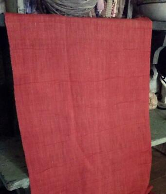 """Antique 19thc Linen Fabric Turkey Red Solid 11"""" x 17"""""""