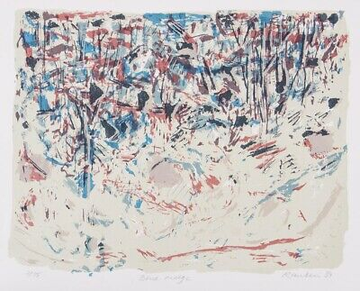 David RANKIN Original Screenprint 'Blue Ridge' signed 40x50cm abstract landscape