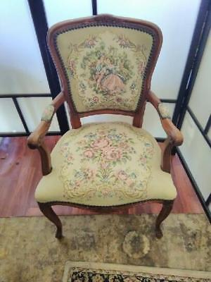 French Louis Fauteuil Style Carved Walnut Armchair ..Tapestry Of Young Lovers