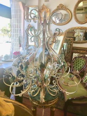 Extra Large French Provincial Ornate Wrought Iron 10 Branch Candle Chandelier
