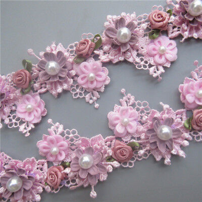 10X Pink 3D Flower Pearl Rose Lace Trim Ribbon Wedding Applique DIY Sewing Craft