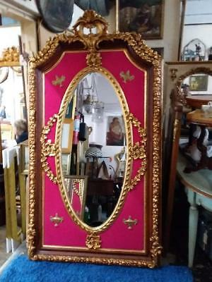 ORNATE FRENCH LOUIS GOLD FLOOR / MANTLE BEVELLED MIRROR. HUGE  210cm
