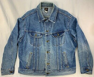 2f7463bd Vtg 70's Lee Riders PATD 153438 Denim Jean Jacket Trucker Large 48R Made in  USA