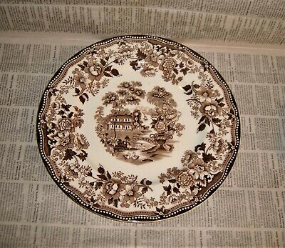 "Clarice Cliff Tonquin Royal Staffordshire England 10"" Dinner Plate Brown Vintage"