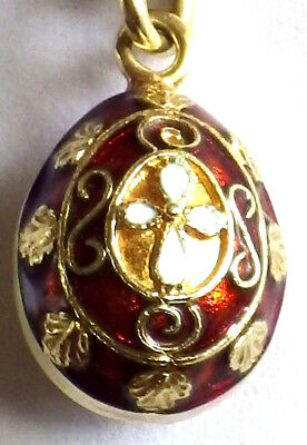 ⭐Imperial Russian Egg Antique 14K ✞ Faberge Enameled Gold Pendant ☧ Easter Cross