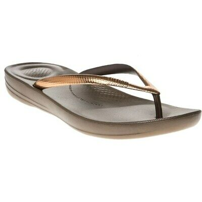 225225710d45 New Womens FitFlop Brown Metallic Iqushion Rubber Sandals Animal Slip On