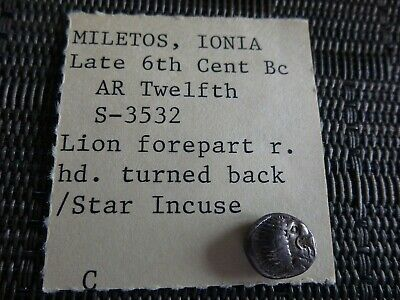 Ancient GREEK Silver Coin Ionia, Miletos AR 1/12 Stater Circa 520-450  BC 1.17g