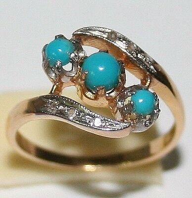 ANTIQUE VICTORIAN FRENCH BI COLOR 18k GOLD DIAMOND TURQUOISE LOVE FINE RING 1900