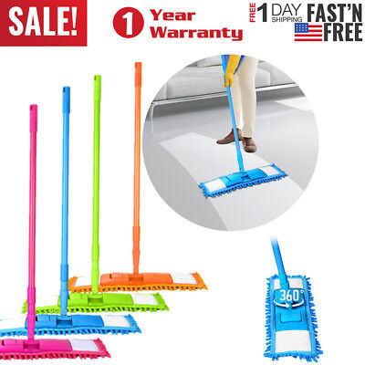 360° Extendable Microfibre Floor Mop Cleaner Sweeper Head Wet Dry Cleaning