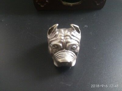 COLLECTIBLE Tibetan silver Copper old hand made  dog's head statue finger ring