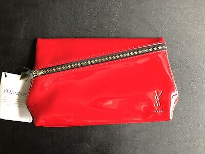 bd3cdcad13 YSL Yves Saint Laurent Makeup Cosmetic Bag Clutch Red patent leather 8