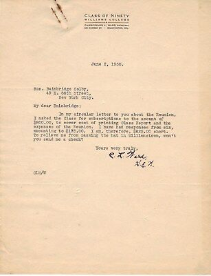 SALE set1 Christopher L. Ward 3 signed letters w/carbons WILLIAMS COLLEGE